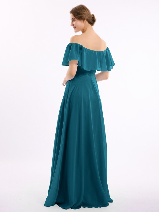 Babaroni Hazel Off-The-Schulter Voller Länge Chiffon Kleid
