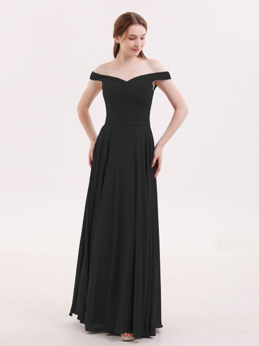 Babaroni Christine Off-The-Schulter Voller Länge Chiffon Kleid