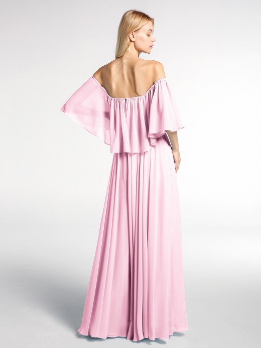 Babaroni Rose Off-The-Schulter Rüschen Chiffon Langes Kleid