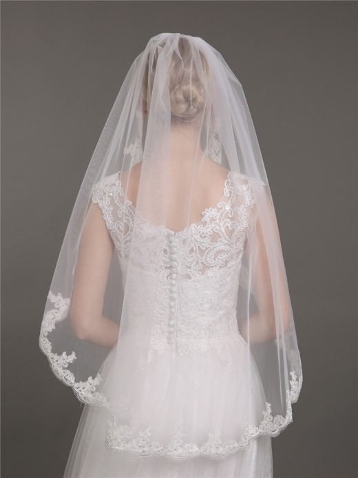 Babaroni Wedding Accessories Veil03 Tüll Brautkleid Schleier Mit Applique