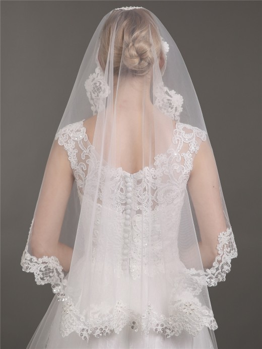 Babaroni Wedding Accessories Veil07 Tüll Appliziert Brautkleid Schleier Mit Perlenstickerei
