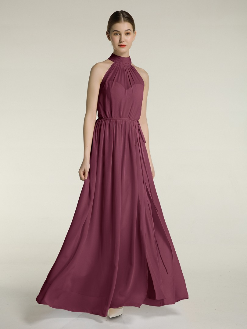 A-Linie Chiffon Mulberry Reißverschluss Bow, Ruched, Pleated bodenlang High Neck Ärmellos Brautjungfernkleider