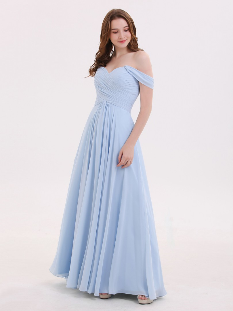Empire-Linie Chiffon Sky Blue Reißverschluss Ruched, Pleated bodenlang Off-The-Schulter Nein Neue Stile