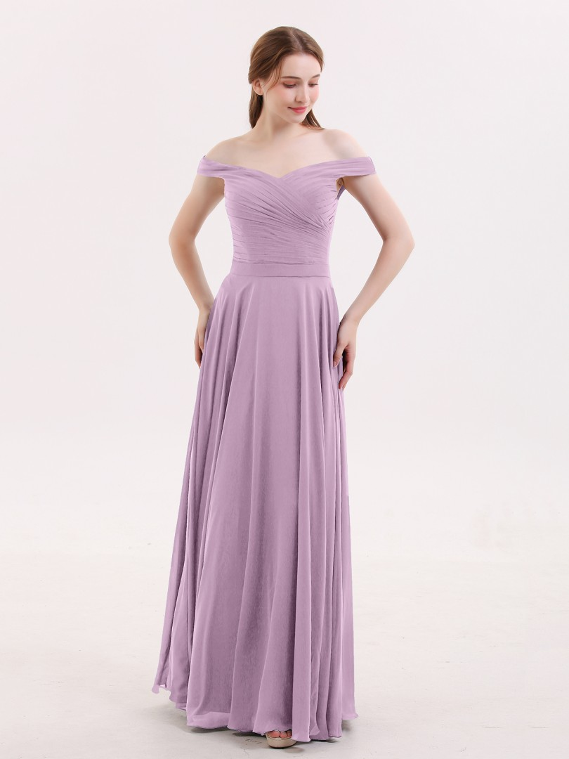 A-Linie Chiffon Grape Reißverschluss Ruched, Pleated bodenlang Off-The-Schulter Ärmellos Lange Brautjungfernkleider